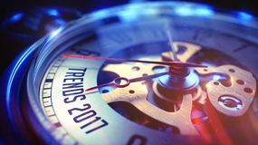 Tendenzen 2017 - Phrase auf Taschen-Uhr 3d übertragen Lizenzfreies Stockfoto