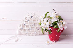 Tender apple tree flowers in  red  pitcher and decorative heart Royalty Free Stock Photos