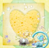 Tender baby photo frame. Children`s picture- with an empty place for photography, with soft toys Royalty Free Stock Image