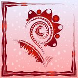 Tender background with burgundy abstract flower on the artistic. Blobs with drops. For postcards or design of summer and floral themes royalty free illustration