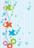 Tender background with fish. Tender blue background with colour fish Royalty Free Stock Photos