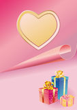 Tender background with a heart and gift Royalty Free Stock Image