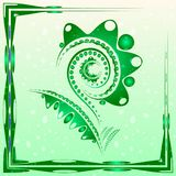 Tender background with lime green abstract flower on the artisti. C blobs with drops. For postcards or design of summer and floral themes royalty free illustration