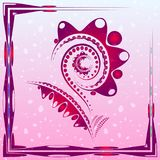 Tender background with pink abstract flower on the artistic blob. S with drops. For postcards or design of summer and floral themes royalty free illustration