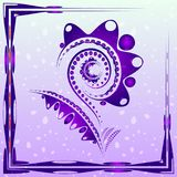 Tender background with purple abstract flower on the artistic bl. Obs with drops. For postcards or design of summer and floral themes stock illustration