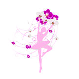 Tender ballerina holding an arrangement of orchid Royalty Free Stock Images
