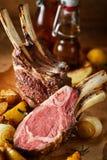 Tender barbecued rack of lamb cut through stock images
