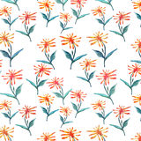 Tender beautiful delicate bright sophisticated spring colorful herbal textile yellow orange dandelions with green leaves pattern. Watercolor hand sketch Stock Images