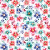 Tender beautiful floral herbal gorgeous bright cute spring colorful mallow different shapes with colorful streaks pattern. Watercolor hand sketch Royalty Free Stock Photography