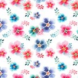 Tender beautiful floral herbal gorgeous bright cute spring colorful mallow different shapes with colorful streaks pattern. Watercolor hand sketch Stock Photos