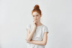 Free Tender Beautiful Redhead Girl Looking At Camera. Stock Photography - 93330662