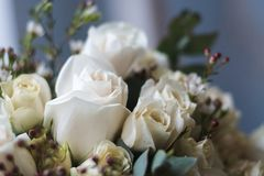 Tender beautiful wedding bouquet closeup, peach color roses and decoration, selective focus.  stock photos