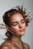 Tender beauty portrait of bride with roses wreath in hair Stock Photography