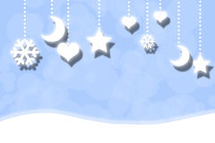 Tender blue Christmas pattern with white moon Stock Image
