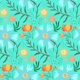 Tender blue and green floral summer pattern royalty free illustration
