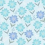 Tender blue pattern with childish sketch flowers royalty free illustration