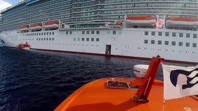 Tender boat comes back to Royal Princess stock video