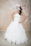 Tender bride in an elegant white dress Stock Photography