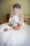 Tender bride in her lace wedding dress Royalty Free Stock Images
