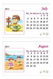 Tender calendar 2011 - July and August. Colored illustration of a page of the calendar 2011 with the month of July and August, with a tender image Stock Photography