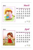 Tender calendar 2011 - March and April. Colored illustration of a page of the calendar 2011 with the month of March and April, with a tender image Stock Photos