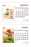 Tender calendar 2011 - September and October. Colored illustration of a page of the calendar 2011 with the month of September and October, with a tender image Stock Illustration