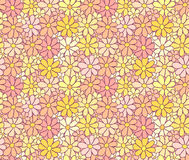 Tender Cartoon Flower Pattern with Careless Hand Royalty Free Stock Image