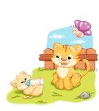 Tender cats. Color digital illustration of two tender cats and a little butterfly Royalty Free Stock Image