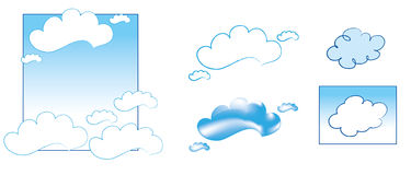 Tender Clouds. Blue and White simple Chinese clouds Royalty Free Stock Photo