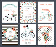 Tender collection of 6 cute wedding card templates. Royalty Free Stock Images