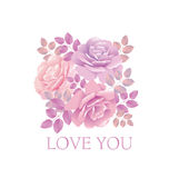 Tender color pink rose bouquet. Elegant vector illustration design element for valentines greeting card of wedding invitation on blue background Royalty Free Stock Photography