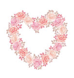 Tender color pink rose bouquet in heart shape. Royalty Free Stock Photos