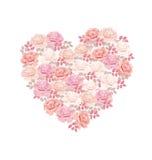 Tender color pink rose bouquet in heart shape. Elegant vector illustration design element for valentines greeting card of wedding invitation on white Stock Image