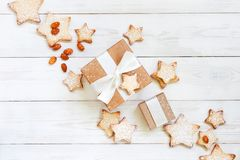 Tender composition with gift box and cookies royalty free stock photo