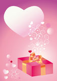 Tender congratulations with present Stock Images