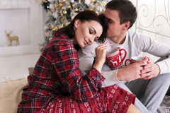 Tender couple in cozy home clothes posing becide Christmas tree Royalty Free Stock Photos