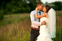 Tender couple is hugging and kissing in the herbs on the backgro Stock Image