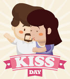 Tender Couple Kissing with a Ribbon and Kiss Day Greeting, Vector Illustration Royalty Free Stock Photos