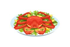 Tender crab meat, lobster, in armor, with greens, vegetables, lemon. Festive seafood specialties, modern delicacies with a beautiful presentation on the plate royalty free illustration