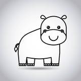 Tender cute hippo card icon Stock Photo