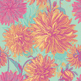 Tender dahlia flowers seamless pattern Royalty Free Stock Photography