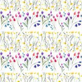 Tender delicate beautiful bright sophisticated spring colorful textile yellow wildflowers and red pink violet tulips and blue blu. Ebells with leaves pattern stock illustration