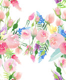 Tender delicate cute elegant lovely floral colorful spring summer red, blue, purple and yellow wildflowers and pink roses with gre Stock Photos