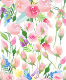 Tender delicate cute elegant lovely floral colorful spring summer red, blue, purple and yellow wildflowers and pink roses with gre Royalty Free Stock Image