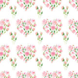 Tender delicate cute elegant lovely floral colorful spring summer red and pink roses with green leaves pattern like a heart waterc Stock Photo