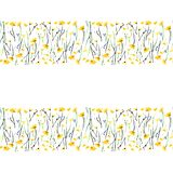 Tender delicate elegant beautiful bright floral herbal spring summer colorful yellow line of meadow flowers with buds and leaves p. Attern watercolor hand Stock Photography