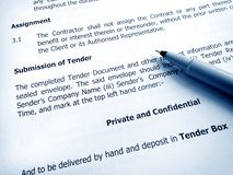 Tender document submission Royalty Free Stock Image