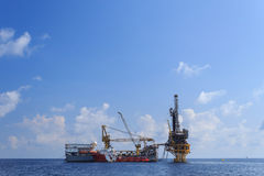 Tender Drilling Oil Rig (Barge Oil Rig). On The Production Platform Royalty Free Stock Image