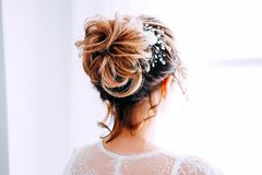 Tender elegant young bride with hairdo, hairpin and bridal makeup stock photos