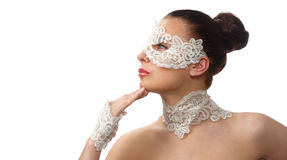 Tender face in lace mask over her eyes Royalty Free Stock Image